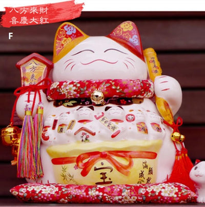 Ceramic Lucky cat Extra Large Maneki Neko Piggy Bank Shop Opening Gift Decoration Cute Smiling Face - Univers Japonais