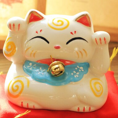 ERMAKOVA Ceramic Lucky Cat Coin Bank Maneki Neko Fortune Cat Statue with Bell Mony Box Home Shop Decoration Gift | Ugoshi