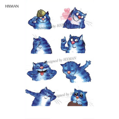 HXMAN Cat Temporary Tattoo Sticker Watercolor Animals Tattoos for Women Body Art Child Girls Hand Fake Tatoo 9.8X6cm A-279 - Univers Japonais