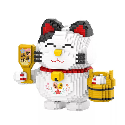 Maneki Neko Mini Blocks Lucky Cat Cartoon Cat Building Bricks Money Smile Fortune Cat Block Toy Figures for Gift HC1019 - Univers Japonais