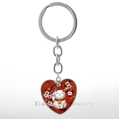 Fashion Red Maneki Neko keychain Japan Japanese Lucky Welcoming Beckoning Cat Talisman jewelry key chain ring Custom H97 | Ugoshi