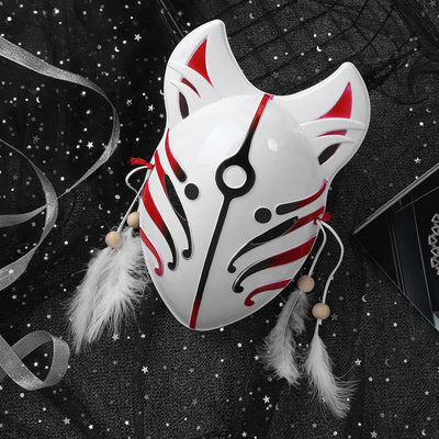Full Face Fox Mask Hand Painted Japanese Style PVC fox masks with Feather Tassels Party Show Masquerade Festival Ball Costume