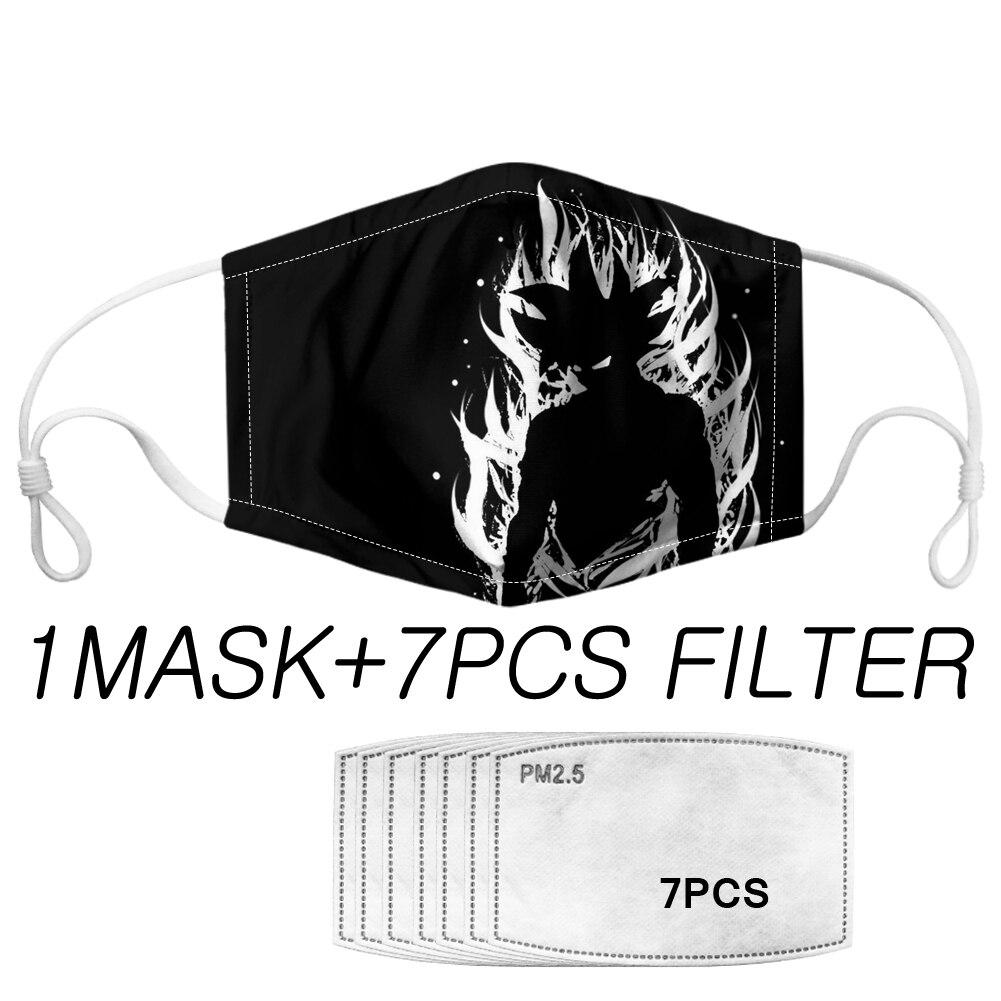 Outdoor Protection Masks 7 PM 2.5 Filter Masque 2020 Fashion Face Mouth Muffle Cartoon Dragon Ball Z Pattern Men Boy