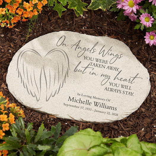On Angels Wings Personalized Memorial Garden Stone