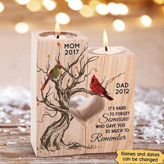 Cardinal Hard To Forget Memorial Personalized Candle Holder