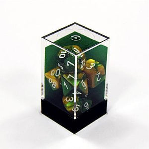 Gemini - Gold-Green with White Polyhedral 7 die set-Chessex-1-Jocozaur