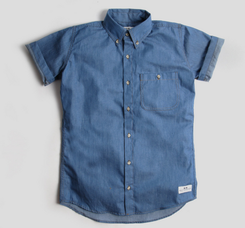 SHORT SLEEVE BUTTON DOWN - DENIM