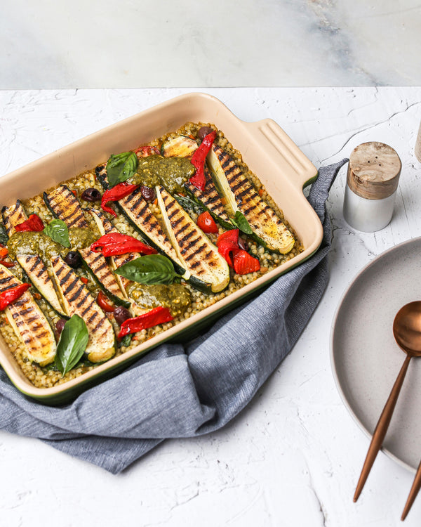 Grilled Zucchini, Pearl Couscous + Basil Pesto