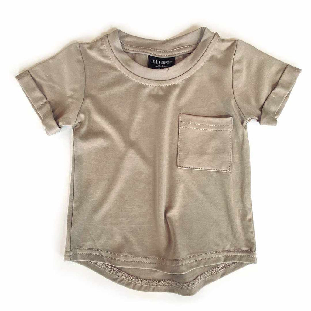 Chandail manches courtes - taupe-Little Bipsy-Boutique Béluga