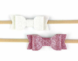 Ensemble de 2 boucles brillantes Blanc et Rose-Baby wisp-Boutique Béluga