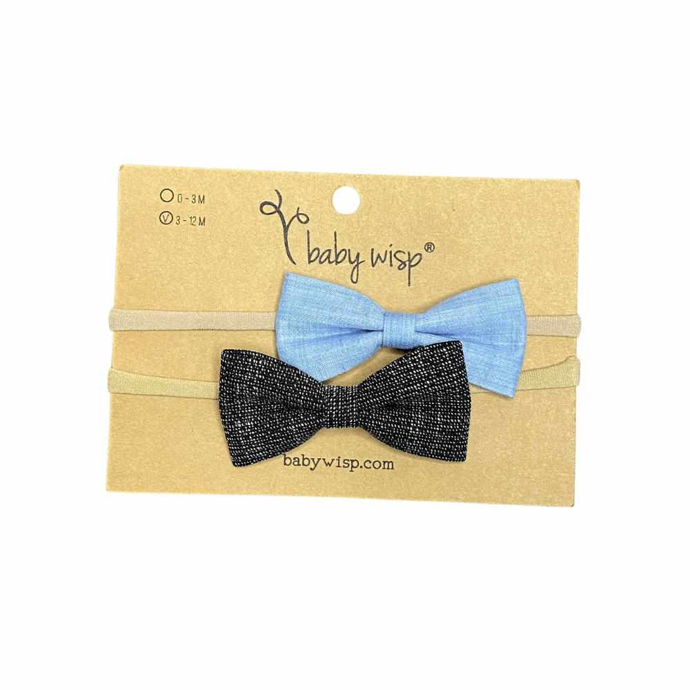 Ensemble de 2 boucles Tuxedo - Denim/Noir-gris-Baby wisp-Boutique Béluga