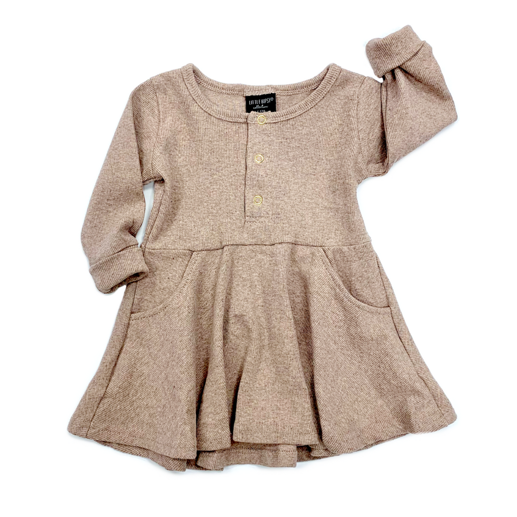 Robe manches longues - taupe
