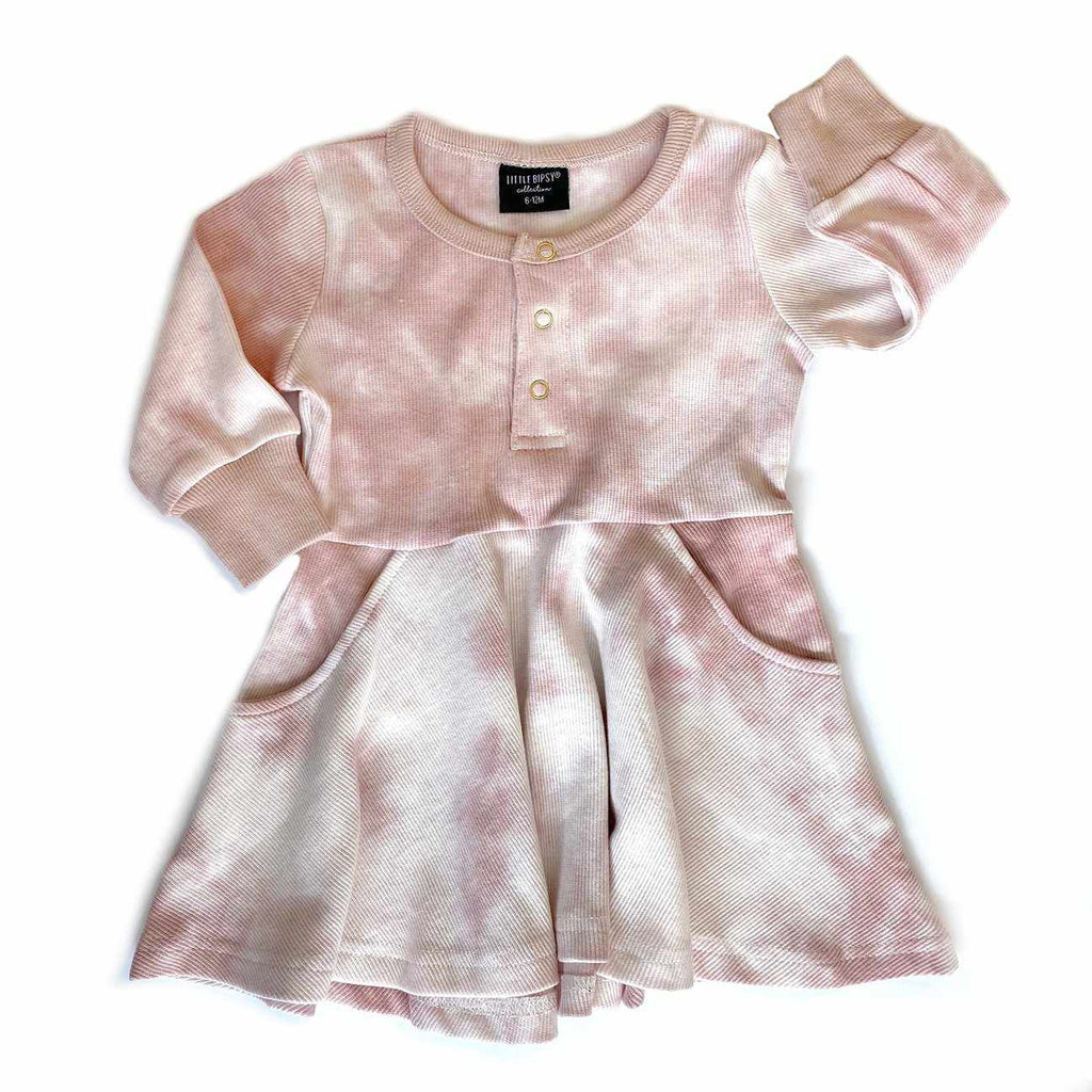 Robe manches longues - Tie Dye rose-Little Bipsy-Boutique Béluga