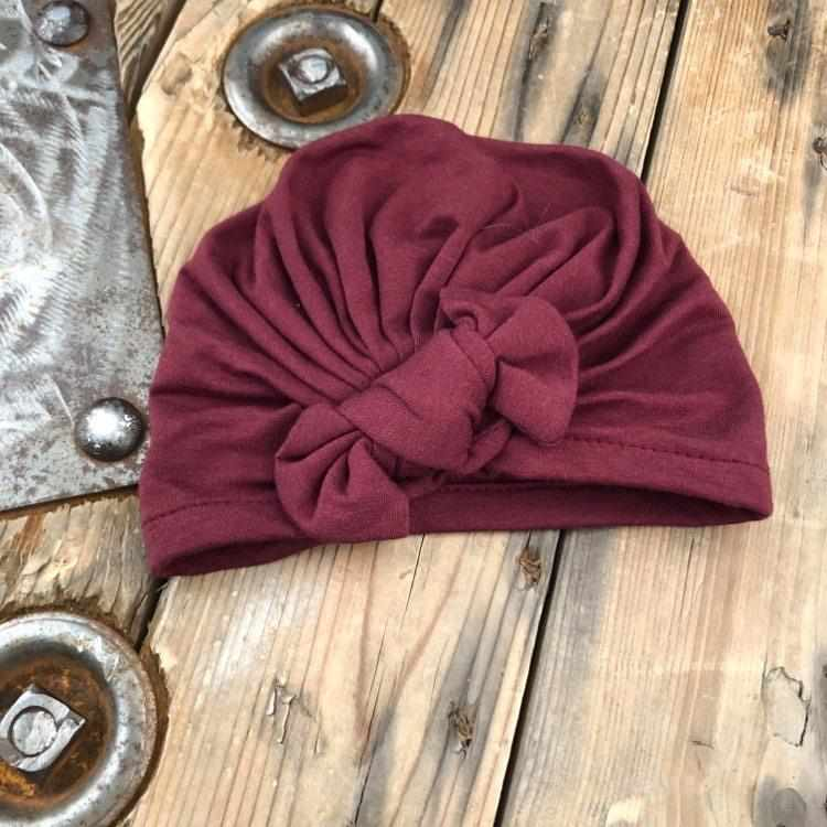 Turban bourgogne-Mini bretzel-Boutique Béluga