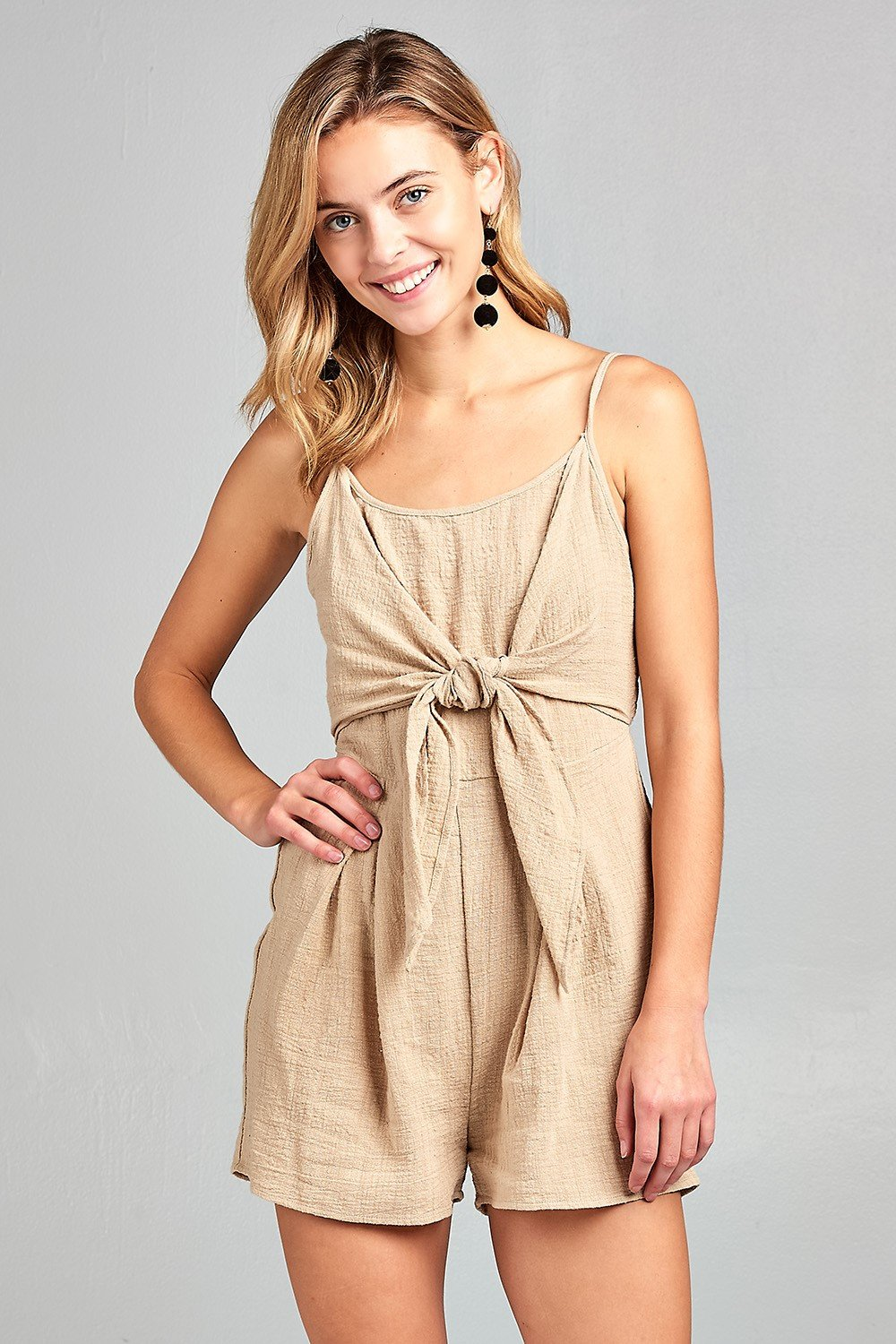 String me along Front Tie Tank Romper