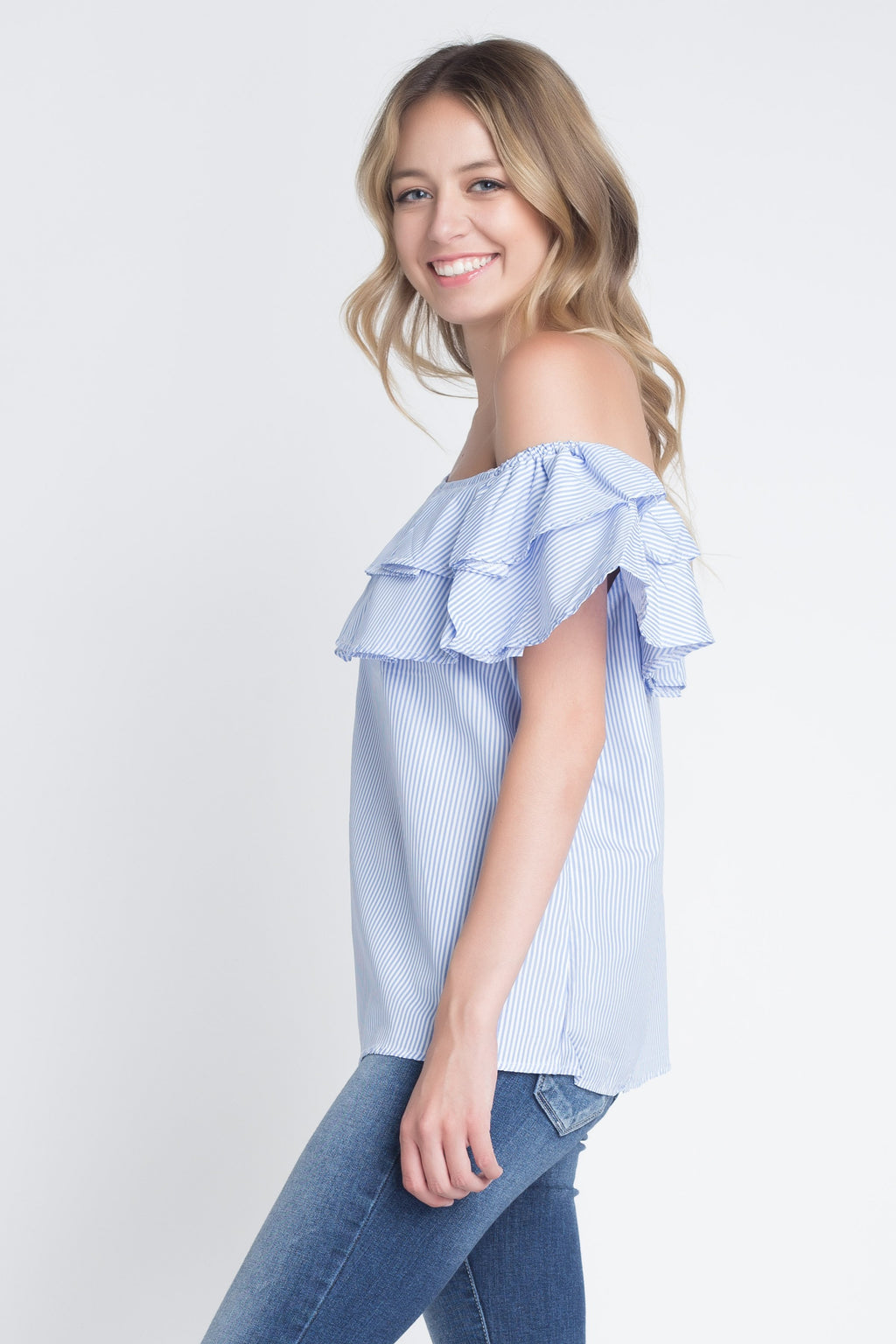 Weekend Drive Striped Off Shoulder Ruffle Blouse