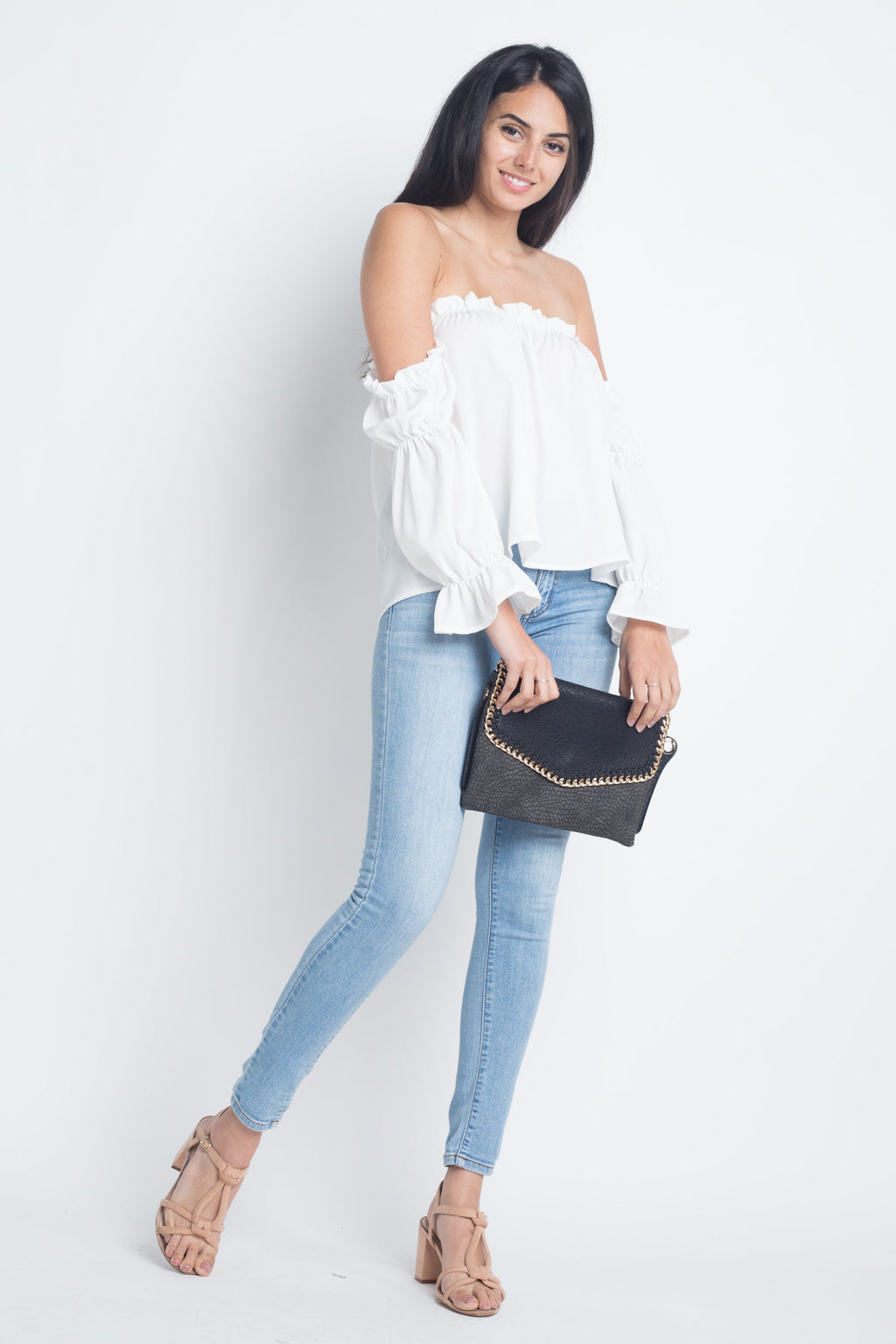 Sweet Moments Off Shoulder Ruffle Top