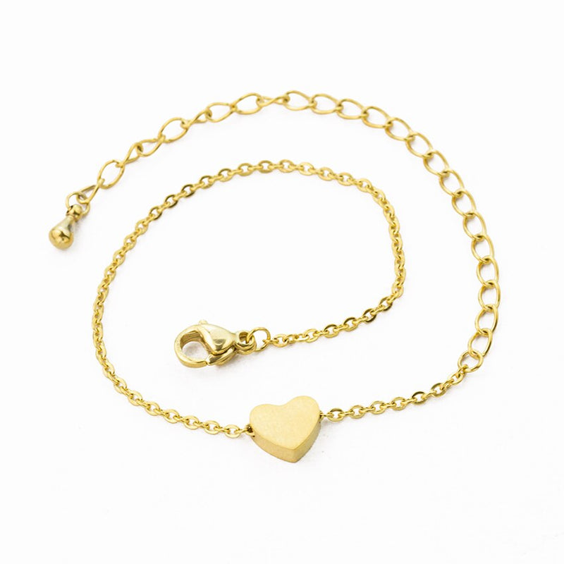 Stainless Steel Small Love Heart Pendant Bracelets