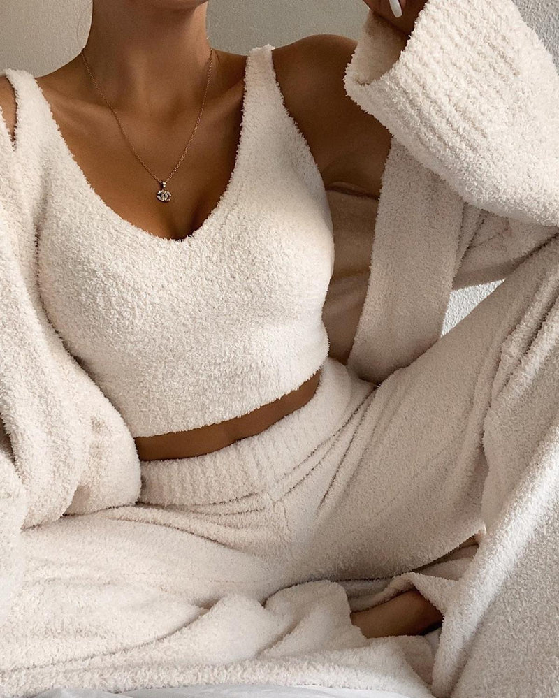 Cozy Two Piece Matching Set with Top and High Waist Pants