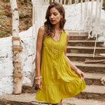 Yellow Beach Lace-up Sundress