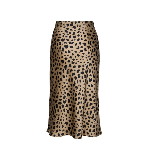 Spot on High Waist Leopard Satin Midi Skirt