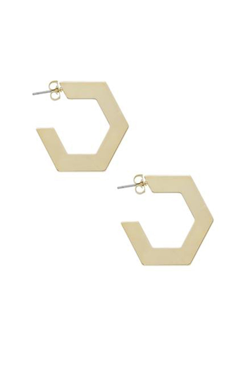 Dainty Babe Flat Pentagon Gold Earrings