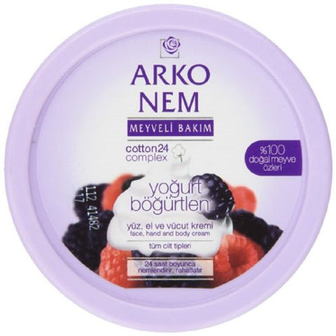 Arko Nem Yogurt and Blackberry Cream Face Hand and Body Cream, 300 Gram - Arko Meyveli Bakim