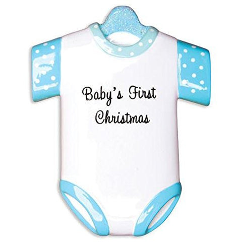 New Blue Baby's First Christmas Onesie Ornament (OR1496-B)