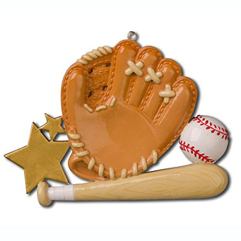 Baseball Sport Glove Personalized Christmas Tree Ornament
