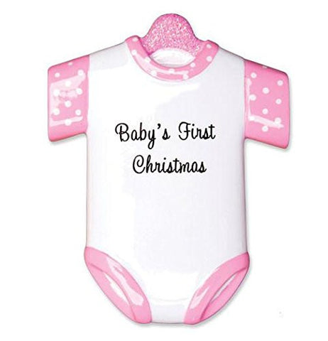 New Pink Baby's First Christmas Onesie Ornament (1496-P)