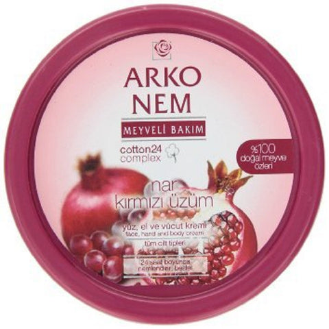 Arko Nem Pomegranate and Red Grape Face Hand and Body Cream, 150 Gram