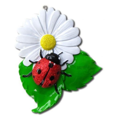 Ladybug Hand Personalized Christmas Ornament
