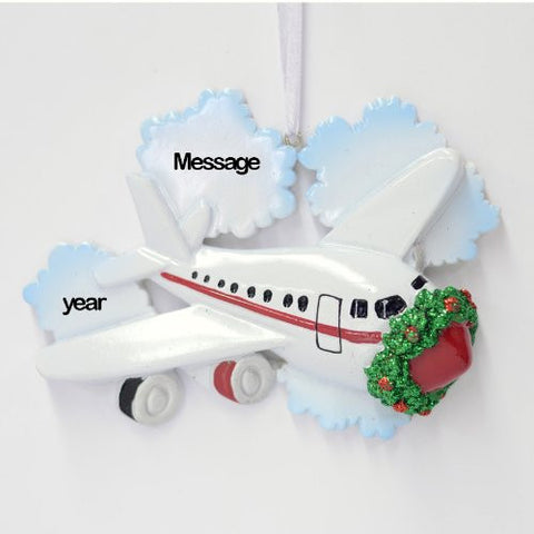 Airplane Personalized Christmas Holiday Ornament