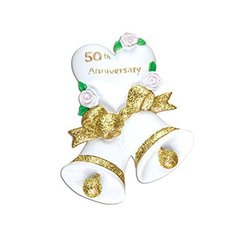 50th Golden Wedding Anniversary Personalized Christmas Tree Ornament
