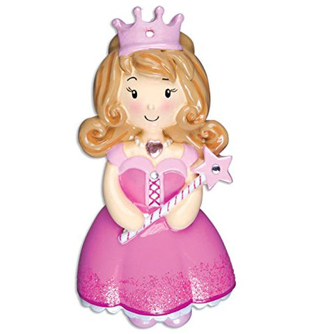 Child Princess Girl Pink Personalized Christmas Ornaments