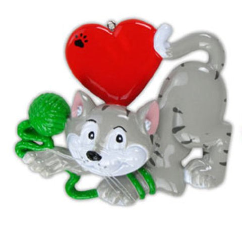 Personalized Christmas Ornament Cat Lover Ornament (Grey)