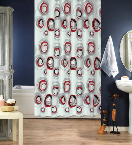Evdy Luxury Water Re-pellency Shower Curtain Series (Colorful Circles 79