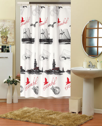 Evdy Luxury Water Re-pellency Shower Curtain Series (Istanbul Theme 79