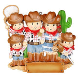 Cowboy Family with 3 Kid Personalized Christmas Tree Ornament