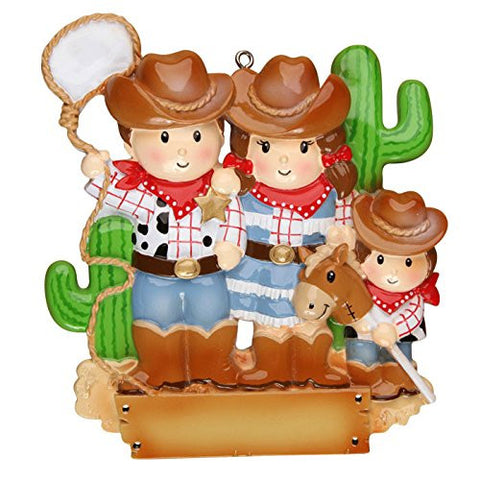 Cowboy Family with 1 Kid Personalized Christmas Tree Ornament