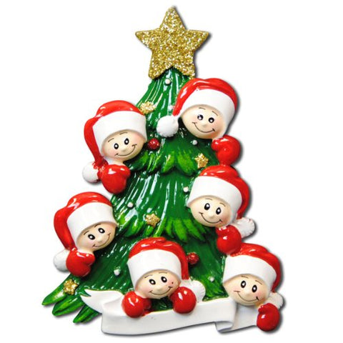 Christmas Tree with 6 Faces Personalized Christmas Ornament