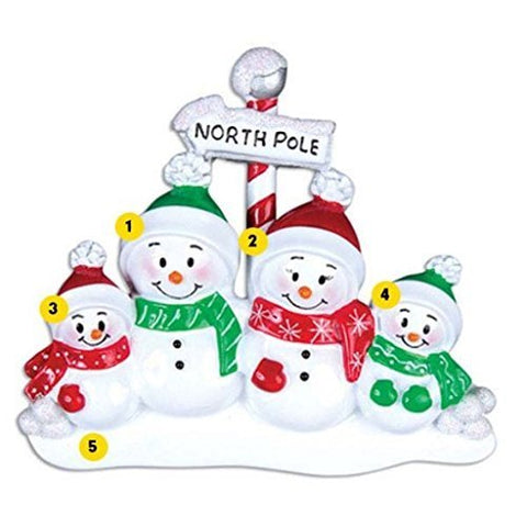 North Pole Family of 4 Personalized Christmas Ornament Or967-4 by Polar X