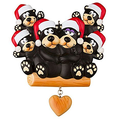 Black Bear Family Personalized Christmas Ornament