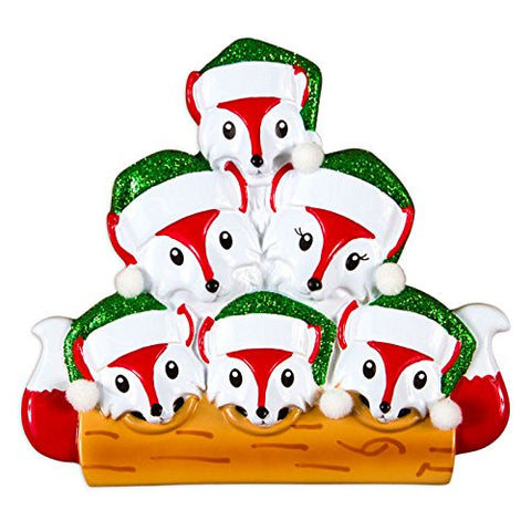 Fox Family Of 6 Personalized Christmas Tree Ornament