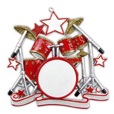 Drum Set Personalized Christmas Ornament