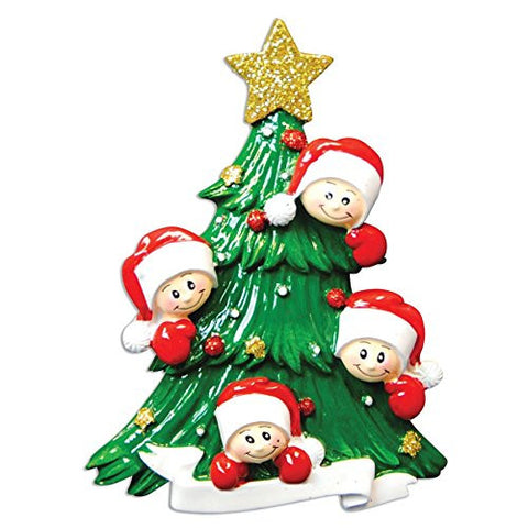 2462 Family of Four with Christmas Tree Hand Personalized Christmas Ornament