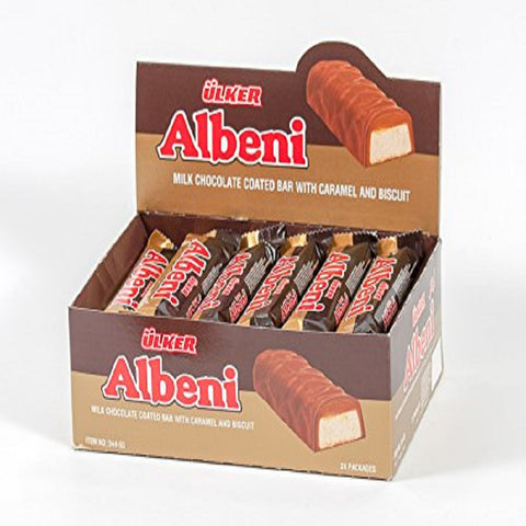Ulker Albeni Cikolata - Milk Chocolate Coated Bar w Caramel and Biscuit 40 Gr ( 1.4 Oz ) (Pack of 24)
