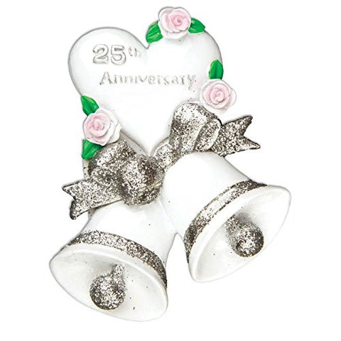 25th Silver Wedding Anniversary Personalized Christmas Tree Ornament