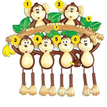 Monkey Family 6 Personalized Christmas Tree Ornament