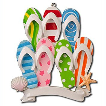 Flip Flop Travel Beach Family of 7 Personalized Christmas Tree Ornament